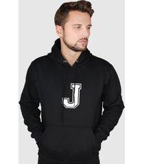 blusa moletom flanelado fechado suffix moleton preto capuz e bolso estampa letra j - preto - masculino - poliã©ster - dafiti
