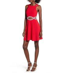 women's speechless rhinestone waist cutout fit & flare dress