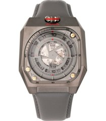 reign asher automatic genuine gunmetal case, grey leather watch 47mm
