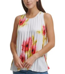 dkny floral pleated sleeveless top