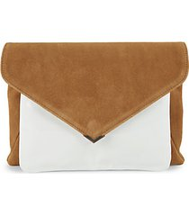 mila suede & patent leather envelope clutch
