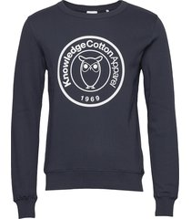 elm big owl print sweat - gots/vega sweat-shirt tröja blå knowledge cotton apparel