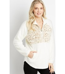 maurices womens white leopard front sherpa pullover sweatshirt