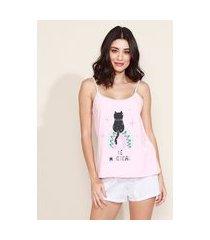 pijama feminino gatinho com poá alça fina rosa