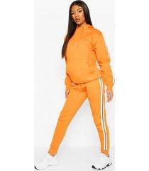 woman side stripe hoodie tracksuit, orange