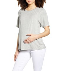 bun maternity smooth relax maternity/nursing tee, size x-large in heather grey at nordstrom