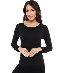 camiseta lady genny seamless polar térmico negro - calce ajustado