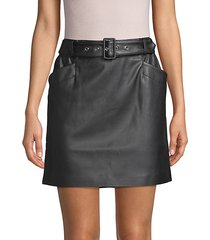belted faux leather mini skirt