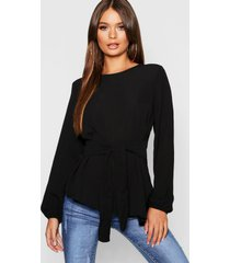 asymmetric hem belted woven top, black