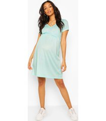 maternity ribbed smock dress, aqua