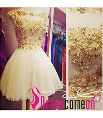 short prom dress,elegant gold beaded dress,white cocktail dress,ball gown dress