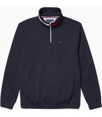 tommy hilfiger men's adaptive stripe collar quarter zip sweatshirt sky captain - xxl