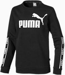 amplified crew neck boys' long sleeve sweater, zwart, maat 128 | puma