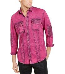 inc men's overdyed moto shirt, created for macy's