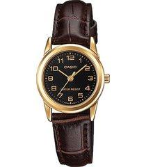 reloj casio ltp_v001gl_1b marrón cuero