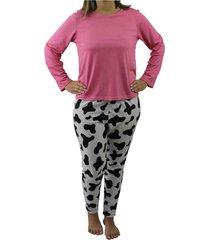 pijama blusa manga longa e calça touro boots feminino rosa - kanui