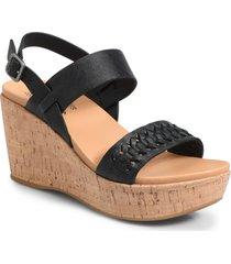 women's kork-ease austin braid wedge sandal, size 8 m - black