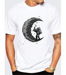 t-shirt casual a maniche corte con stampa o-collo creativa estiva da uomo