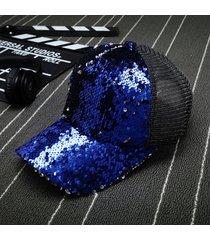 sombrero para mujer, gorro lentejuelas reflectantes-azul