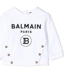 balmain white cotton sweatshirt