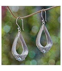 blue topaz dangle earrings, 'blue sukawati glamour' (indonesia)