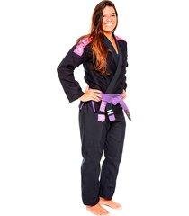 kimono jiu jitsu atama trançado  ultra light 2.0 feminino - preto
