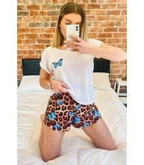 satijnen luipaardprint vlinder pyjama set met shorts en ruches, bruin