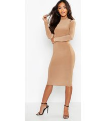 petite slinky high neck midi dress, taupe