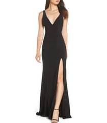 women's mac duggal deep v-neck slit jersey gown