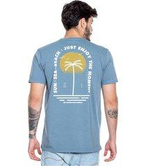 camiseta cuello redondo estampado en frente y espalda color blue