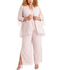r & m richards plus size 3-pc. jacket, embroidered top & pants set