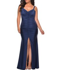 plus size women's la femme ruched jersey gown, size 14w - blue