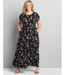 lane bryant women's tiered jersey maxi dress 34/36 cape bay floral