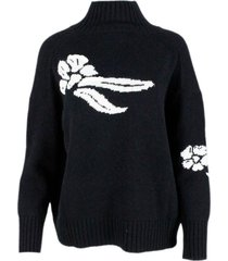 ermanno scervino oversized turtleneck sweater with embroidery on the front in wool and cashmere