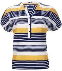 blusa m/c a rayas color azul, talla 6