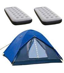 barraca de camping iglu fox nautika + 2 colchões inflável solteiro fit ecologic