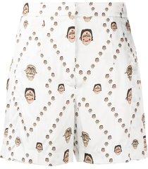 kirin all over mask print shorts - white