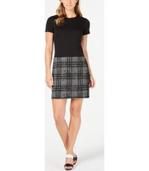 calvin klein solid & plaid shift dress