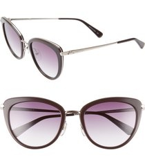 women's longchamp roseau 54mm cat eye sunglasses - chocolate