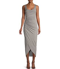 ruched-side midi dress