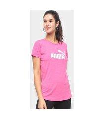 camiseta puma ess+ logo heather feminina