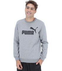 blusão de moletom puma ess logo crew sweat fl big logo - masculino - cinza