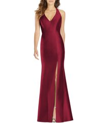 women's alfred sung halter satin trumpet gown, size 4 - burgundy