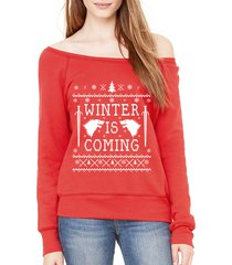 game of thrones winter is coming ugly christmas sweater off shoulder sweatshirt
