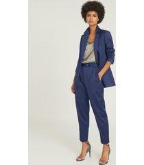 reiss jaida - satin blazer in blue, womens, size 12