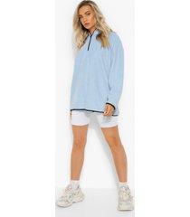 oversized fleece sweater met korte rits, sky blue