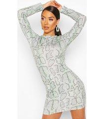 snake print crew neck mini dress, green