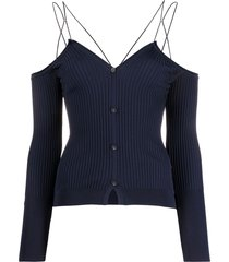 jacquemus off-shoulder ribbed cardigan - blue