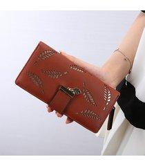 billetera mujeres- bolsos largos de la cartera de-marrón