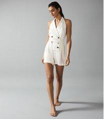 reiss merritt - linen blend halterneck playsuit in cream, womens, size 10